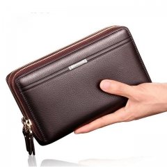 Luxury Brand Business Men Wallets Long PU Men's Leather Cell Phone Clutch Purse brown one size