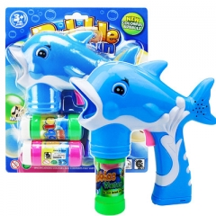 2017 New Electric Dolphin Bubble Gun Music Light Blowing Bubbles blue one size