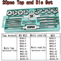 20pcs Tap Dies Set 1/16''--1/2'' NC Screw Thread Plugs Taps Carbon Steel Hand Screw Taps Hand Tools one color one size