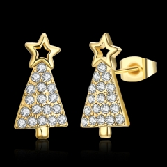 The Christmas tree zircon earrings gold one size
