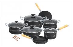 Fine Stylish 15 pieces non-stick cooking set (Glass Lids) Grey set