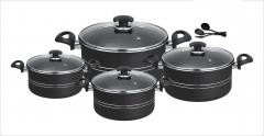 Fine king set non stick 11 pcs cooking set (glass lid) grey Set