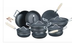 Fine Stylish 15 pieces non-stick cooking set (Aluminum) Lid golden set