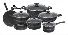 Fine 15 pieces non-stick cooking set (Glass Lids) black set