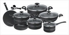 Fine 15 pieces non-stick cooking set (Glass Lids) red set