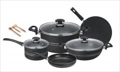 Fine super non stick 11pcs cooking set (Glass lid) black set