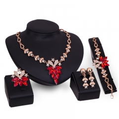 4 set New alloy Necklace Pendant Earring Studs Bracelet Rings Wonmen Jewellery for wedding party gold with red normal