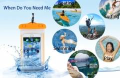 Universal Waterproof Beach Bag Case Luminous Transparent Dry Pouch For Under 6 inch Phone orange Universal phone