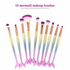 10pcs Mermaid Makeup Brushes Set  Magic Fish Make Up Tools  for lady gril light colorful