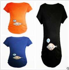 Pregnant Women's clothing, Short Sleeved T-shirt, fashion Simple Orange xxl
