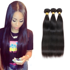 3 Bundles/300g Unprocessed  Indian Human Hair Weave  Silk Straight Full Head Set #1b natural black 3pcs 18inch