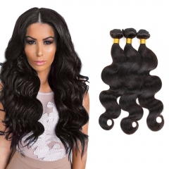 3 Bundles/300g Unprocessed Peruvian Human Hair Weave  Body Wave Full Head Set #1b natural black 8inch+8inch+10inch