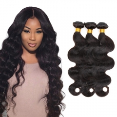 3 Bundles/300g Unprocessed Malaysian Human Hair Weave  Body Wave Full Head Set #1b natural black 10inch+12inch+12inch