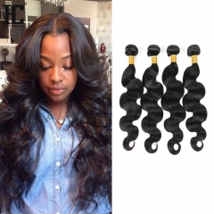 4 Bundles/400g Unprocessed Indian Human Hair Weave Body Wave Full Head Set #1b natural black 12in+12in+14in+14in