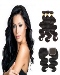 8A 4*4 Lace Top Clousre with 3 Bundles Full Head Set Peruvian Virgin Hair Body Wave #1b natural black 10