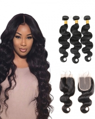 8A 4*4 Lace Top Clousre with 3 Bundles Full Head Set Indian Virgin Hair Body Wave #1b natural black 14
