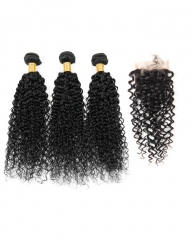 8A 4*4 Lace Top Clousre with 3 Bundles Full Head Set Brazilian Virgin Hair Kinky Curly #1b natural black 10