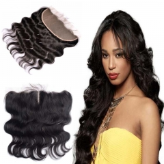 9A Grade 13*4 Ear to Ear Lace Frontal Closure Body Wave Brazilian Virgin Hair with Baby Hair #1b natural black 8 inch