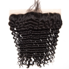 9A Grade 13*4 Ear to Ear Lace Frontal Closure Deep Wave #1b natural black 8 inch