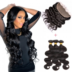13*4 Lace Frontal Clousre With 3 Bundles Full Head Set Brazilian Virgin Hair Body Wave #1b natural black 8