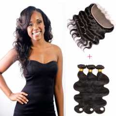 13*4 Lace Frontal Clousre With 3 Bundles Full Head Set Peruvian Virgin Hair Body Wave #1b natural black 8