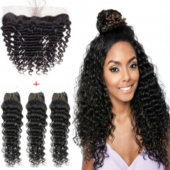 13*4 Lace Frontal Clousre With 3 Bundles Full Head Set Peruvian Virgin Hair Deep Wave #1b natural black 8