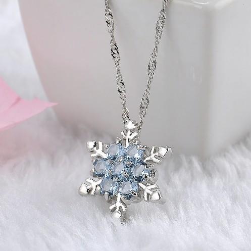 Vintage lady Blue Crystal Snowflake Zircon Flower Silver Necklaces Pendants Jewelry for Women Sea blue 23CM