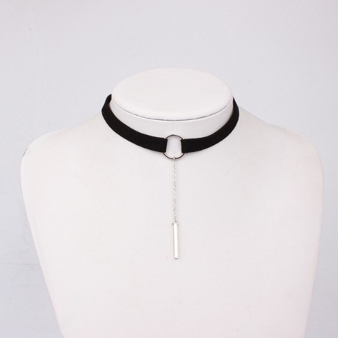 Jewellery 4 Colors Leather Choker Necklace Gold Plated Geometry With Round Pendant Collar Necklace photo color2 30+6cm