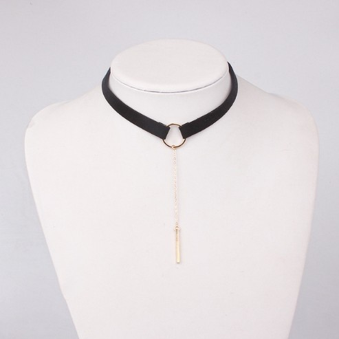 Jewellery 4 Colors Leather Choker Necklace Gold Plated Geometry With Round Pendant Collar Necklace photo color1 30+6cm