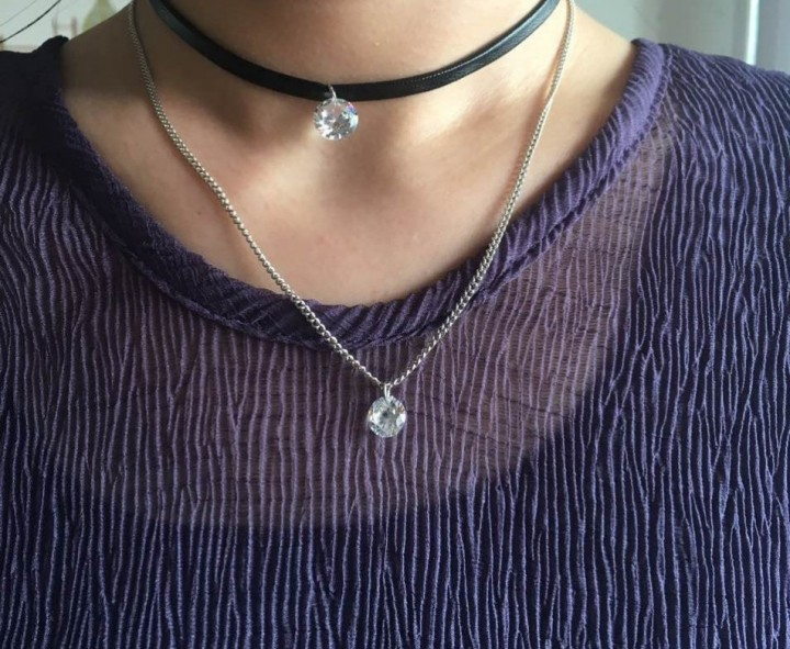 New Arrival Trendy Leather Choker Jewellery with Crystal Charm Layer Necklaces & Pendants for Women Silver 43+5cm