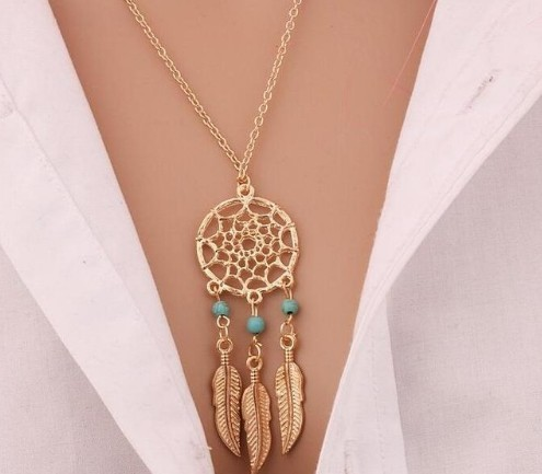 Fashion Retro Women Tassels Feather Pendant Necklace Jewellery Bohemia Dream Catcher Pendant Chain photo color6 60cm