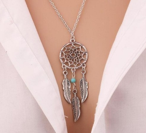 Fashion Retro Women Tassels Feather Pendant Necklace Jewellery Bohemia Dream Catcher Pendant Chain photo color5 60cm