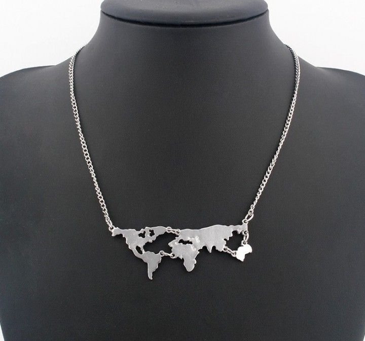 New Fashion Gold Color World Map Pendant Necklace For Women Fine Jewellery black One Size