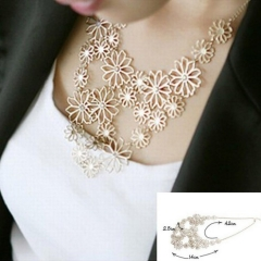 Design western style Multilayer Pendants Rhinestone gold hollow flowers necklace jewellery statement gold necklace*6