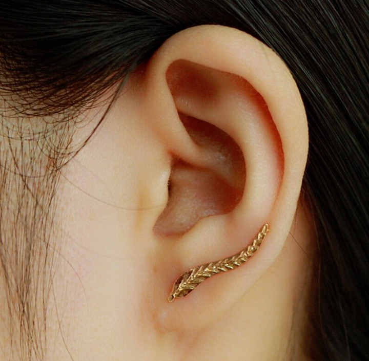 Vintage Jewelry Exquisite Gold Plated Leaf Earrings Modern Beautiful Feather Stud Earrings for Women gold one size