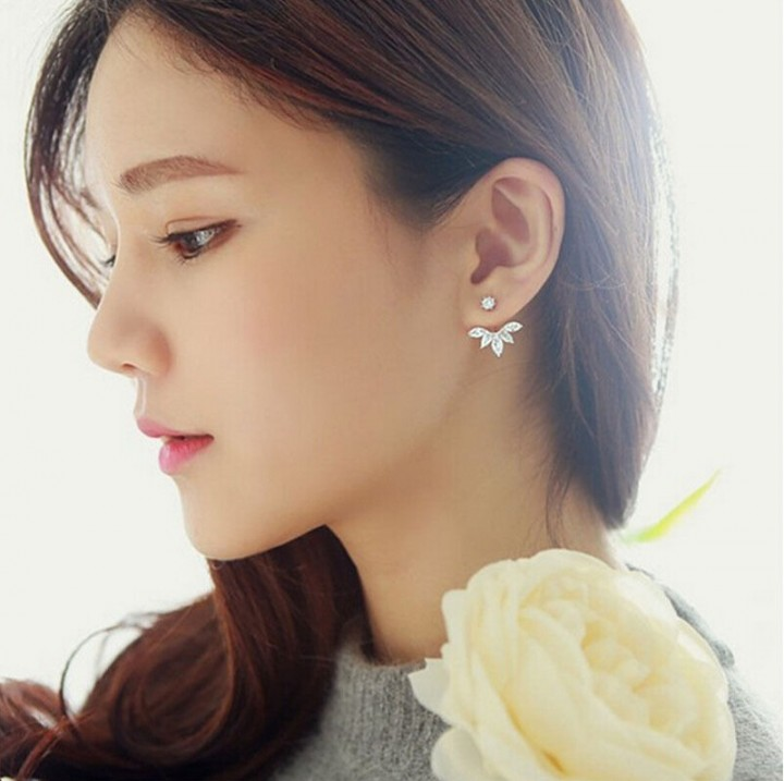 Gold and Silver Plated Leave Crystal Stud Earrings Fashion Statement Jewelry Earrings for Women gold one size