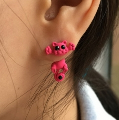 IFeel 10 Color Fashion Lovely Classic Animal Korean Cute Cat Earrings For Girl Women Gift Jewelry photo1 one size