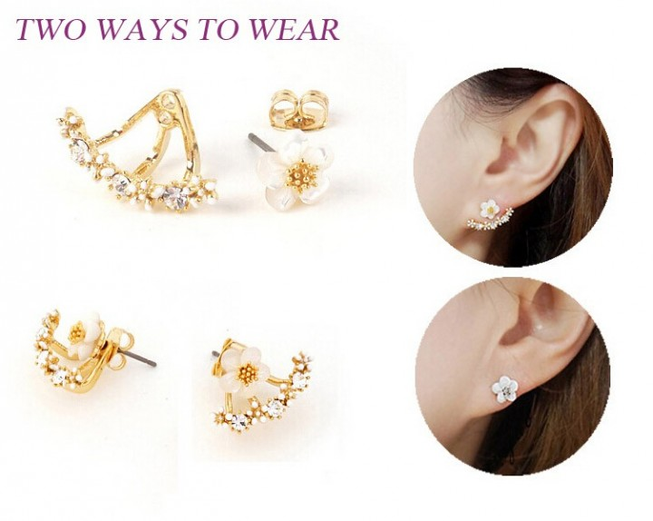 Flower Crystals Stud Earring for Women Rose gold color Double Sided Fashion Jewelry Earrings female gold one size