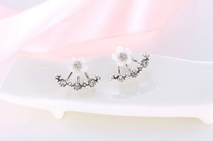 Flower Crystals Stud Earring for Women Rose gold color Double Sided Fashion Jewelry Earrings female silver one size