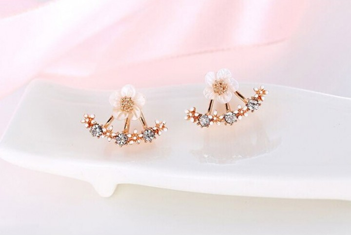 Flower Crystals Stud Earring for Women Rose gold color Double Sided Fashion Jewelry Earrings female rose gold one size