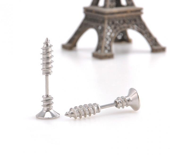 IFeel 2017 Stainless Steel Stud Earrings Men's Punk Ear Jewelry Rock Gothic Unisex Piercing Earring silver one size