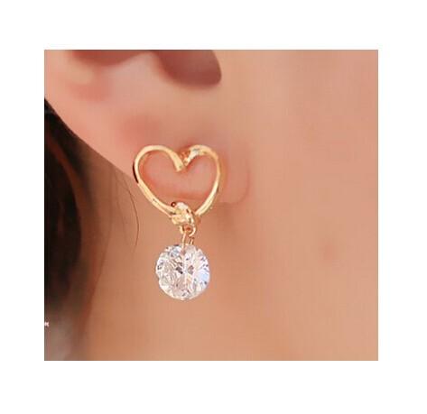 IFeel Design Popular Luxury Crystal Zircon Stud Heart Earrings Elegant earrings jewelry for women gold one size