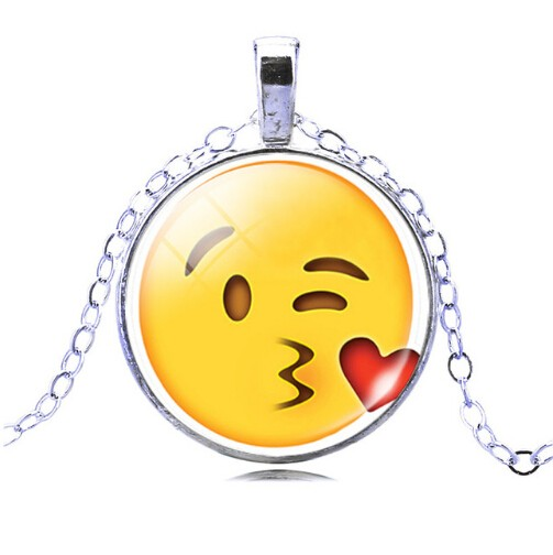 Jewellery Plated with Glass Cabochon Cute Emoji Pattern Choker Pendant Necklace for Women Gift photo color7 one size