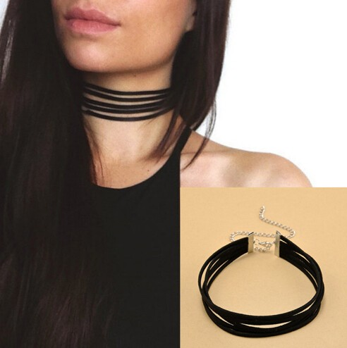 Jewellery Velvet Choker Necklace layers Goth Gothic Handmade Ribbon Collar Necklaces Retro Burlesque black one size