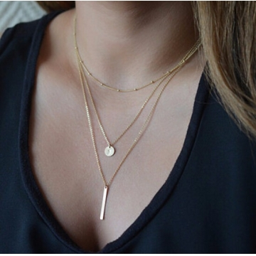 IFeel Jewellery Colar Simple Gold Silver Plated Multi Layers Bar Coin Necklace Clavicle Chains Charm gold one size
