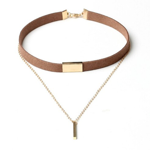 IFeel Jewellery New Black Velvet Choker Necklace Gold Chain Bar Chokers Chocker Necklace For Women brown gold one size