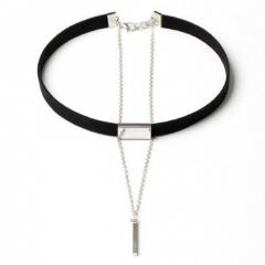 IFeel Jewellery New Black Velvet Choker Necklace Gold Chain Bar Chokers Chocker Necklace For Women black silver one size