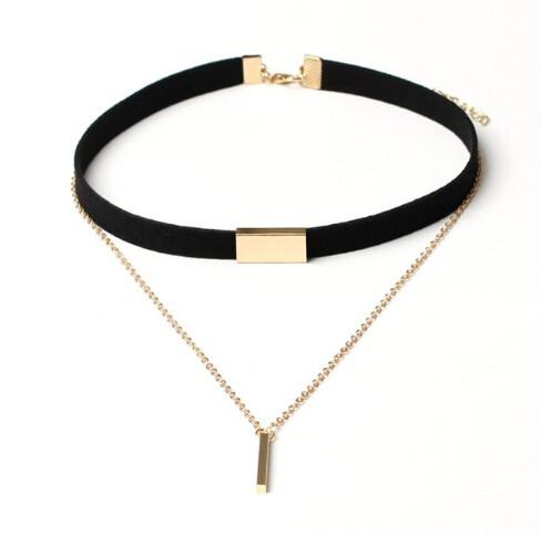 IFeel Jewellery New Black Velvet Choker Necklace Gold Chain Bar Chokers Chocker Necklace For Women black gold one size