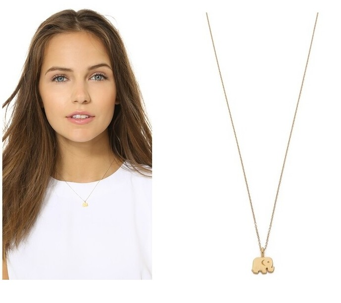 Sparkling good lucky elephant Pendant necklace gold color plated Clavicle Chains Statement Jewellery gold 40CM