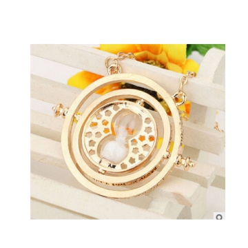 Jewellery plated time turner necklace hourglass vintage pendant Hermione Granger for women lady girl golden white 40cm
